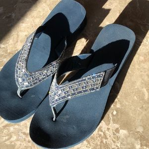 Shoes - Navy Blue flip flops with silver accents.  Sz 8